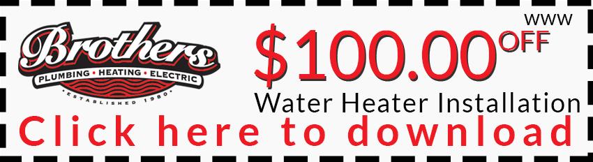 $100 off water heater installation
