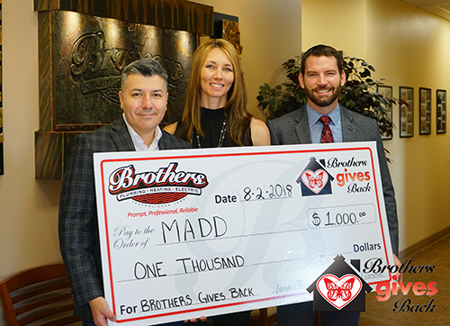 Brothers Gives Back to MADD